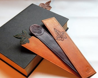 Leather Bookmark handmade Ivy Leaf Celtic Knot Bookmark leather anniversary gift 3rd anniversary British real leather,