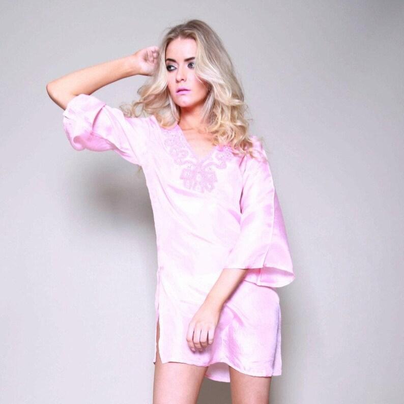 da69db329fd04 Cuba Silk Beaded Petite Pink Kaftan Shirt Dress   Caftan Top