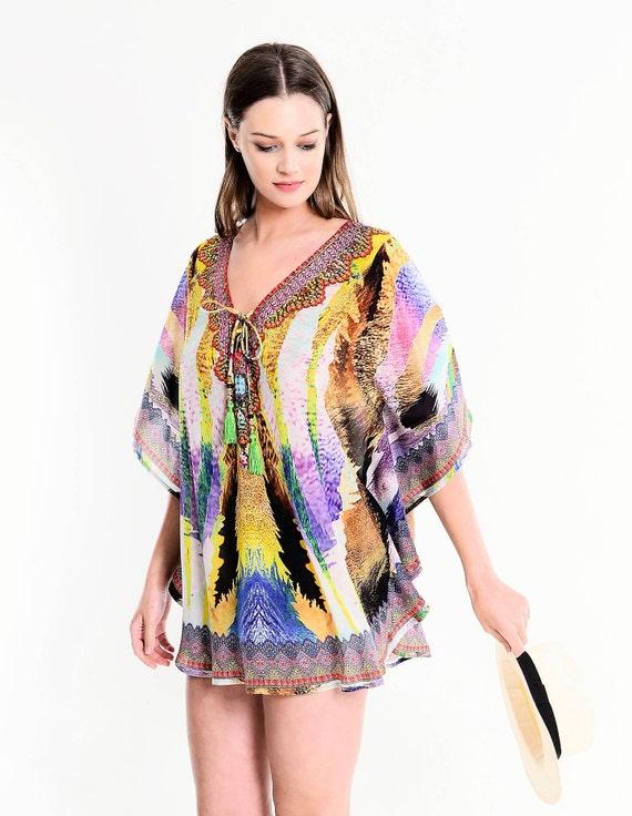 6b98cf593af1 Ladies Poncho Kaftan Swarovski Beach Cover Up Chic Mini Dress | Etsy