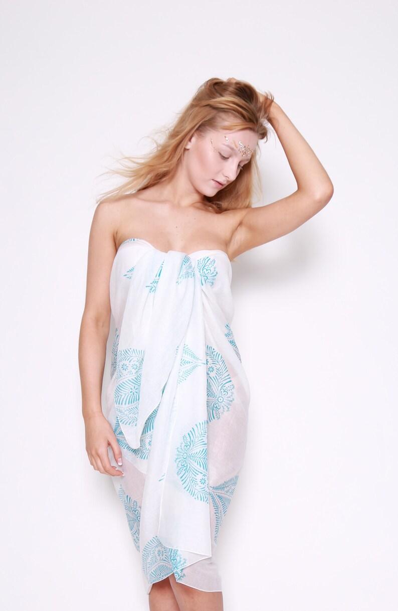 e901361c94 Ladies Sheer White Beach Sarong / Cotton Pareo / Boho Style / | Etsy