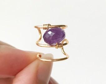 Amethyst Gemstone Ear Cuffs No Piercing-Triple Ear Wrap-Earrings- Gold Ear Cuff-Fake Piercing-Triple Hoop Earring-Cartilage Ear  Cuff-Hugger