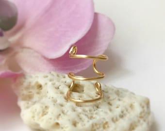 Triple Wrap Gold Ear Cuff-No Pierce Earrings-Gold Ear Wrap-Earrings- Gold Ear Cuff-Fake Piercing- Triple Hoop Earring- Simple Ear Cuff