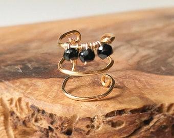 Black Spinel Gold Ear Cuff Earring No Piercing- Ear Wrap-Fake Earrings-Fake Piercing- Gold Triple Hoop-Birthstone Earrings-Gift For Women