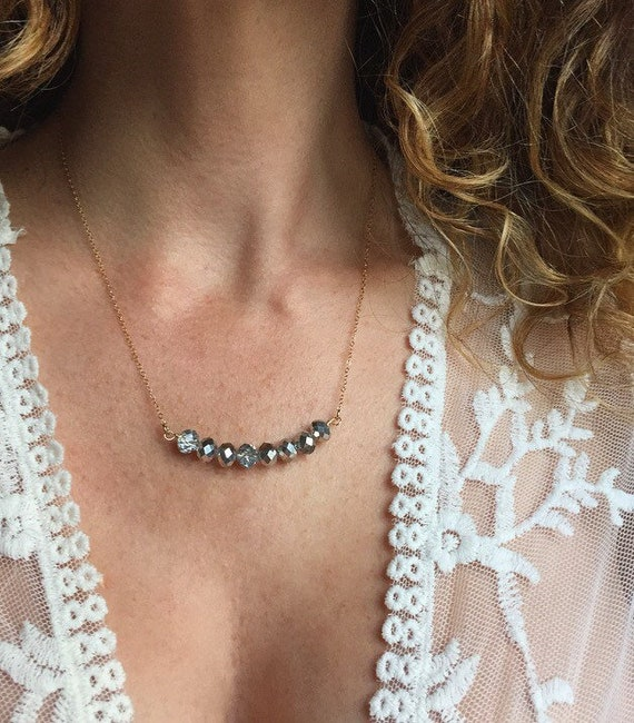 53162d8a98dac Silver Bead Necklace Crystal Necklace Bib Necklace Bar Necklace Swarovski  Crystal Necklace Boho Jewelry Layered Necklace Bridesmaid Necklace