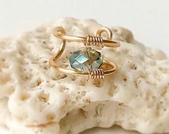 Gold Double Ear Cuff-Clip on Earring- Fake Piercing- Gemstone Cuff Earring-No Piercing- Clip on Hoop- Ear Jewelry- Cartilage Cuff-Wrap Cuff