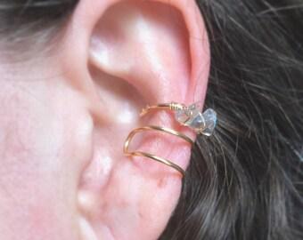 Labradorite Gold Ear Cuffs No Piercing-Triple Ear Wrap-Earrings-Fake Piercing-Triple Hoop Earring-Cartilage Ear Cuff-Hugger Earring