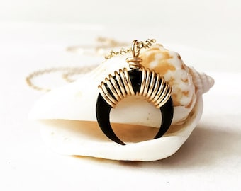 Small Black Double Horn Necklace Bone Pendant Upside down Crescent Necklace Bohemian Necklace Boho Jewelry Tusk Necklace Tribal Necklace