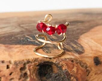 Ruby Gemstone Ear Cuffs No Piercing-Triple Ear Wrap-Gold Ear Cuff-Fake Piercing-Triple Hoop Earring-Cartilage Ear Cuff-Hugger Earrings