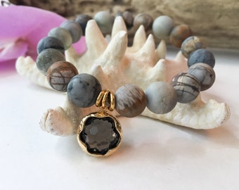 Gemstone Beaded Bracelet Beaded Bracelet Mala Bracelet Jasper Bracelet Gemstone Stacking Bracelet Meditation Bracelet Yoga Bracelet Jewelry