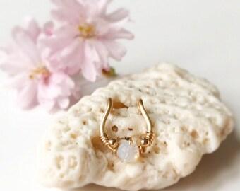 Fake Septum Ring Piercing- Nose Jewelry-Fake Nose Ring-Clip On Nose Ring-Gemstone Septum-Clip On Earring-No Pierce Earring- Septum Jewelry