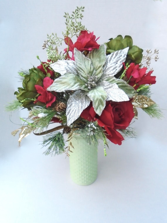 Christmas silk floral arrangement in ceramic vase christmas etsy image 0 mightylinksfo