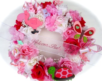 New Baby Celebration  Baby Floral Wreath - Girl or Boy Welcome New Baby Wreath, Pink or Blue Rose
