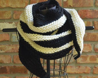 Hand knit scarf/shawl/wrap.  Back and white
