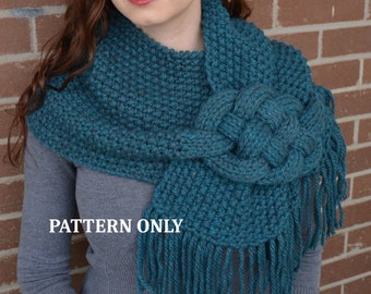 3fe75f4b29a4b8 PATTERN  Misty Mornings - Celtic Knot Scarf. chunky knit scarf patter