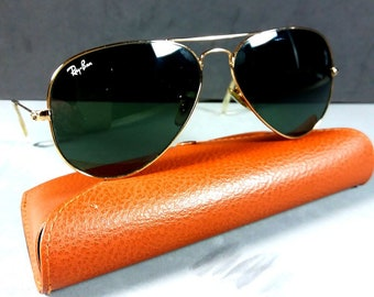 e685ba71fed Ray Ban RB3025 58-14 Aviator Large Metal Gold Sunglasses w Original Case