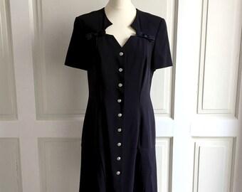883260e9260b Escada Margaretha Ley Vintage Blue Short Sleeves Size 40 Wool Dress