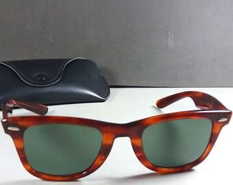 637e7c9dfc8 Ray Ban B L 5024 Wayfarer Vintage Tortoise Tone Unisex Sunglasses US Made w  Case