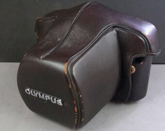 Olympus OM-1 OM-2 Original Brown Semi Hard Leather Camera Case