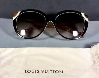 51ac1f2db0ae Louis Vuitton Cat Eye Z0620E 9AV 140 Brown   Amber Sunglasses w LV Pouch