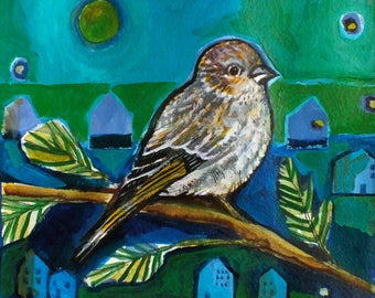 Mini Art Print. 'Pine Siskin' by Jenn Rawling