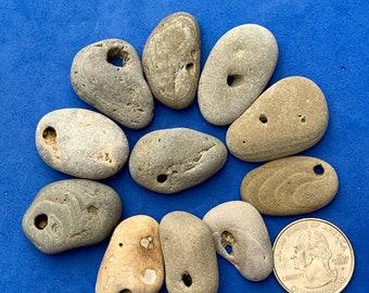 Lot of 10 Hag Stones ~ Holey Stones ~ Natural Holed Beach Stones ~ Jewelry Making Stones