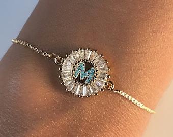 Gold Initial personalized bracelet, Initial adjustable bracelet, Letters Jewelry, bridemade gift bracelet, Charm Bracelet, Gift for her