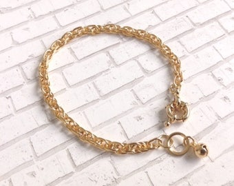 Gold chain bracelet, 5mm Simple Chain Rope Bracelet Gold bangle cuff Gold chain bracelet Simple Everyday Bracelet Chain Bracelet Gold bangle