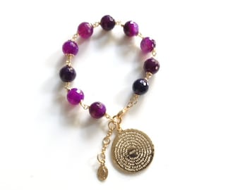 Our Father Prayer Bracelet, Gold Virgin Mary medal Stone Purple Bracelet Our father prayer gold plated charm Padre Nuestro catholic gifts