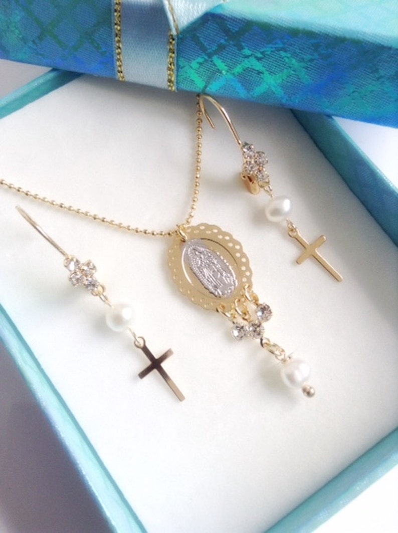 Virgen de Guadalupe Necklace Set Clothing gift for woman Our Lady of Guadalupe Medal Earrings set Virgin Mary Pendant Bridal Necklace Set