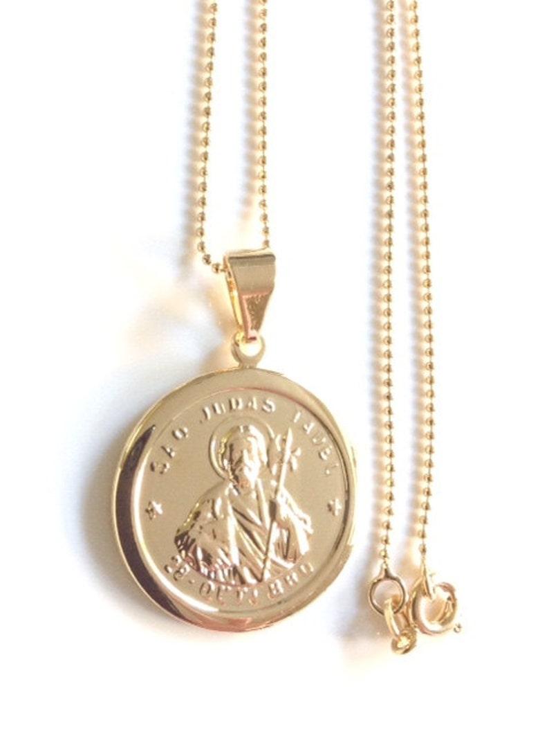 ec44804c4f3 San Judas Tadeo Cadena de balín de gold filled dije con Baño