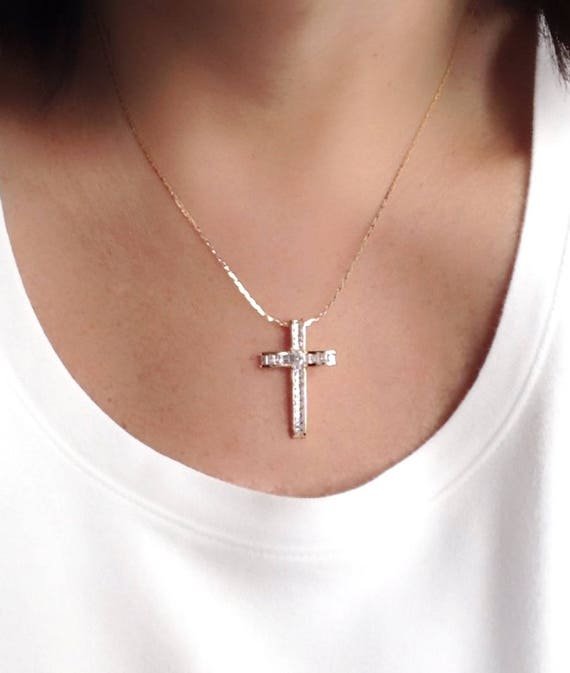 Rose Gold Plated Pendant Ladies Cross Necklace Women Cubic Zirconia Jewelry