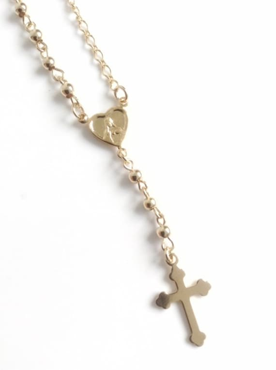 Zarte Gold Rosenkranz Halskette Kreuz Rosenkranz Halskette | Etsy