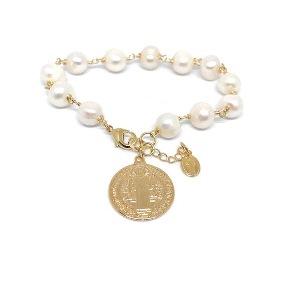 Pulsera de perlas cultivadas con Dije de Oro laminado y | Etsy