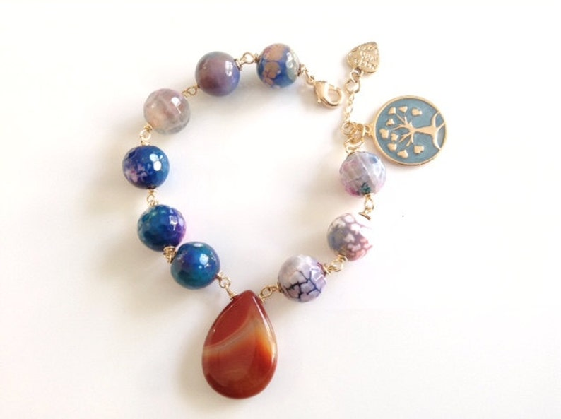 Blue and Brown Stone Tree of life Bracelet Gold Pendant Jade Bracelet Kabbalah Jewelry Brown Gemstone Drop Good Luck Jewelry for Women