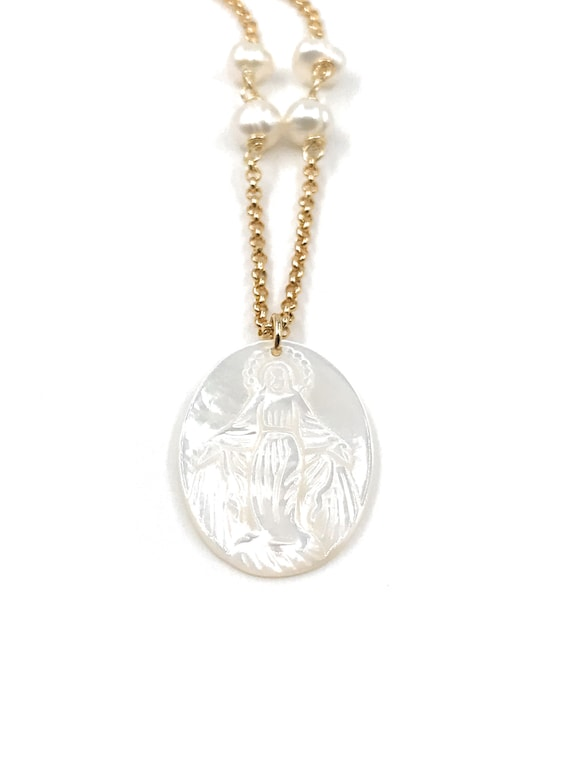Minimalist Blessed Mother of Pearl Medal 17 Inches Necklace Virgen de la Milagrosa