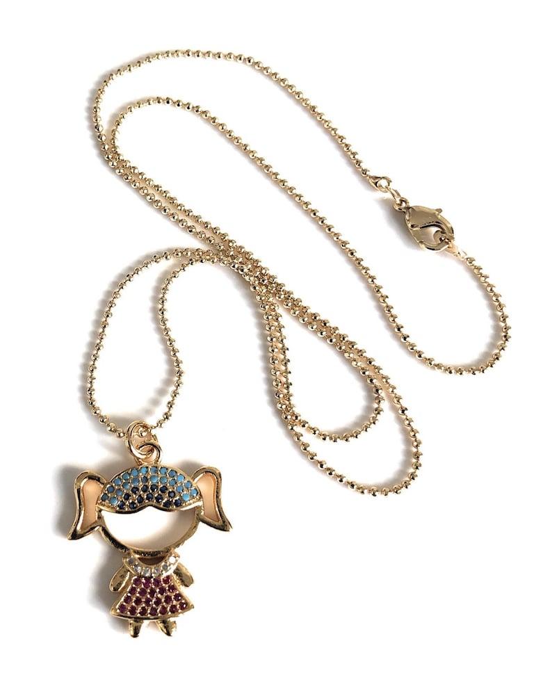 31e29a42e3ef Girl Charm necklace Cadena bañana en oro con dijes de niño