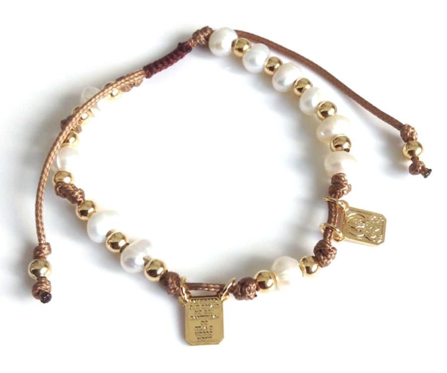 Braun Schulterblatt verstellbare Perlenarmband katholischen | Etsy