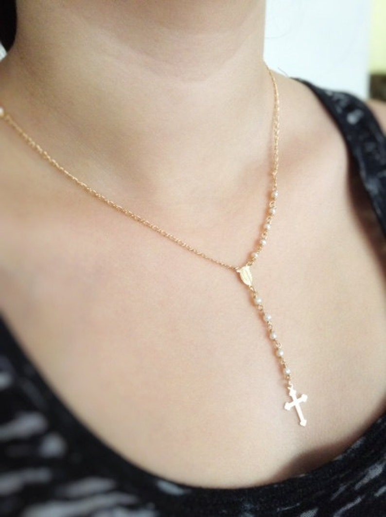 3c6450037a406 Pearl Rosary Necklace, Cross Delicate, Rosary Necklace Gold Crucifix, Pearl  Rosary, Catholic Rosary, Gold Cross Necklace, Religious Jewelry