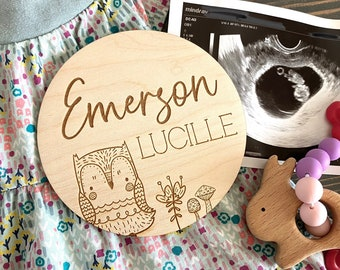Baby Name Sign   Woodland Name Sign   Personalized Owl Nursery Sign   Name or Birth Announcement   Nursery Decor   Newborn Photos