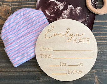 Personalized Birth Stats Sign   Baby Name Sign   Wooden Birth Announcement   Newborn photo prop