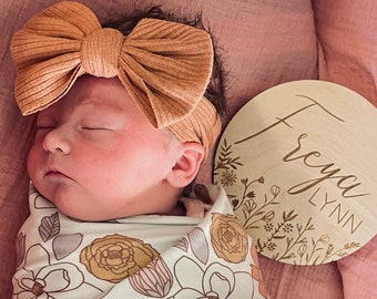 Baby Name Sign   Floral Name Sign   Wooden Engraved Newborn Photo Prop   Wildflower Nursery Sign   Birth Announcement   Hospital Photo