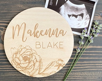 Peony Name Sign   Baby Name Sign   Floral Newborn Photo Prop   Birth Announcement   Nursery Sign   Hospital Photo