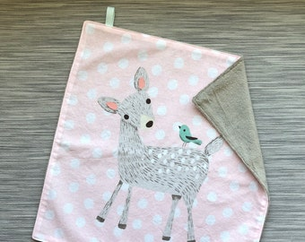 Woodland Blankie | Fawn Security Blanket | Minky Lovey | Fawn and Polka Dots