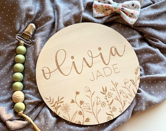 Floral Name Sign   Baby Name Sign   Wooden Engraved Newborn Photo Prop   Nursery Sign   Birth Announcement   Hospital Photo