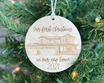 Custom House Ornament   New Home Ornament   Photo Engraved Christmas Bauble   Personalized Home Ornament   New Home   First Home Gift