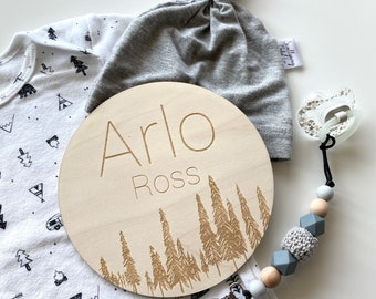 Tree Name Sign   Wooden Engraved Nursery Sign  Baby Boy Custom Wood Name Sign   Birth Announcement   Name Announcement   Photo Prop