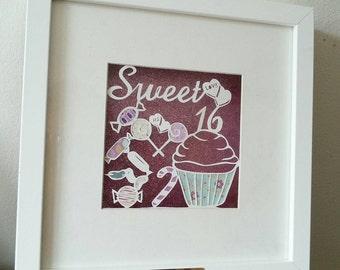 Papercutting template sweet 16 template