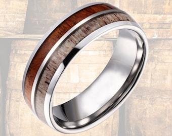 Tungsten Deer Antler Ring with Rare Koa Wood - Mens Wedding Band - Deer Antler & Wood Wedding Band - Unique Wedding Ring - Mens Wood Rings
