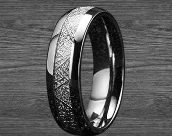 3381ded782b05f Tungsten Meteorite Ring - 6mm Wedding Band Men - Silver Meteorite Jewelry - Mens  Wedding Band - Unique Wedding Ring - Tungsten Ring