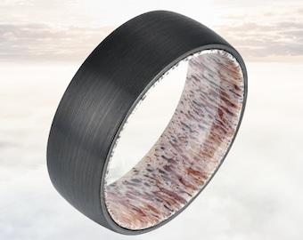 Whitetail Deer Antler Ring with Black Tungsten Ring - 8mm Mens Wedding Band - Deer Ring - Antler Wedding Band - Hunting Tungsten Ring Mens